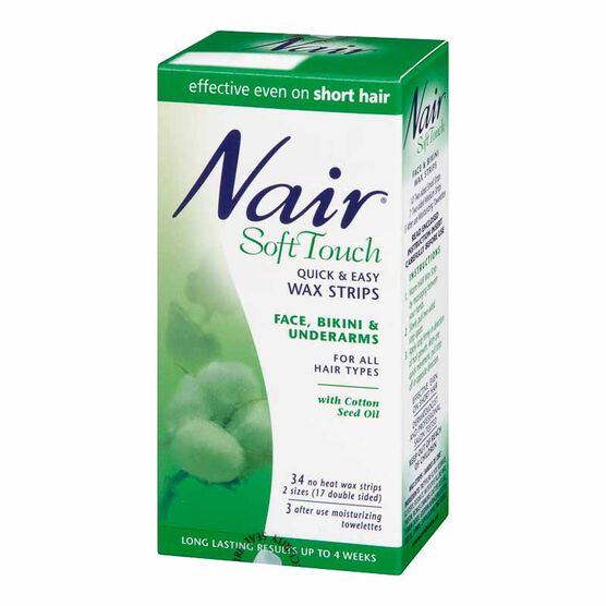 Nair Soft Touch Face & Bikini Wax Strips - 34 strips