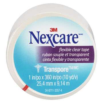 3M Nexcare Clear Transpore Stretchy Tape - 25.4 x 9.1m