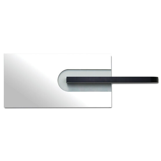 Mera Mirror with Clear Section and Wood Shelf