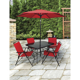 Pomperi Patio Set - Red - 6 piece