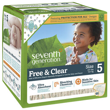 Seventh Generation Baby Free and Clear Diapers  - Size 5 - 46's