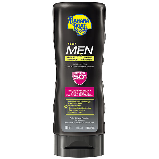 Banana Boat For Men Triple Defense Lotion Sunscreen - SPF50 - 180ml