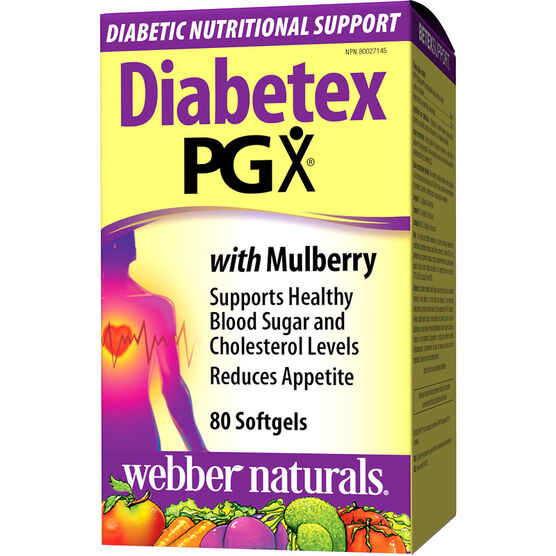 Webber Naturals Diabetex PGX with Mulberry Softgels - 80's