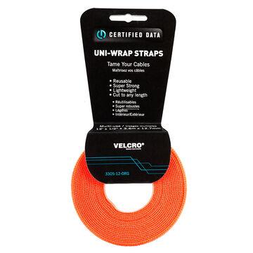 Certified Data 1/2-inch Velcro Wrap - 12 feet - Orange