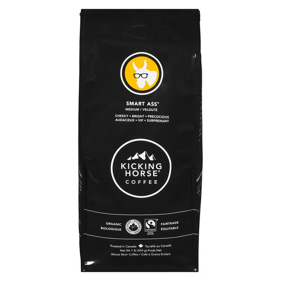 Kicking Horse Medium Roast Whole Bean Coffee - Smart Ass - 454g