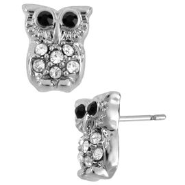 Betsey Johnson Small Owl Stud Earrings - Crystal