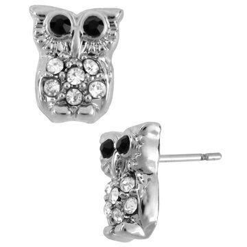 Betsey Johnson Small Owl Stud Earrings - Crystal