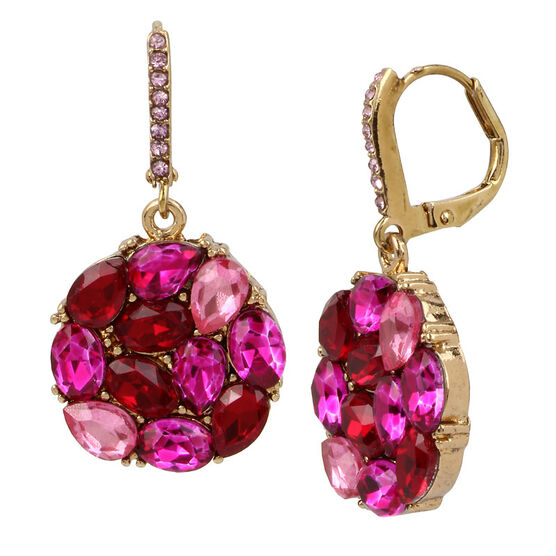 Betsey Johnson Pink Cluster Drop Earring - Pink/Multi