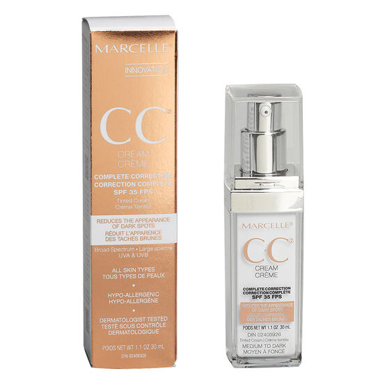 Marcelle CC Cream Complete Correction SPF 35 - Medium to Dark - 30ml