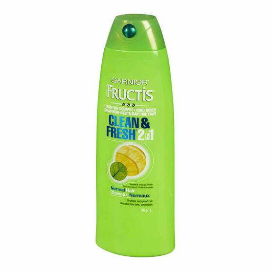 Garnier Fructis Clean & Fresh Shampoo 2 in 1 - 384ml