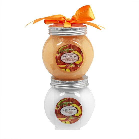 BodyCaress Bath Set - Fresh Peach - 2 piece