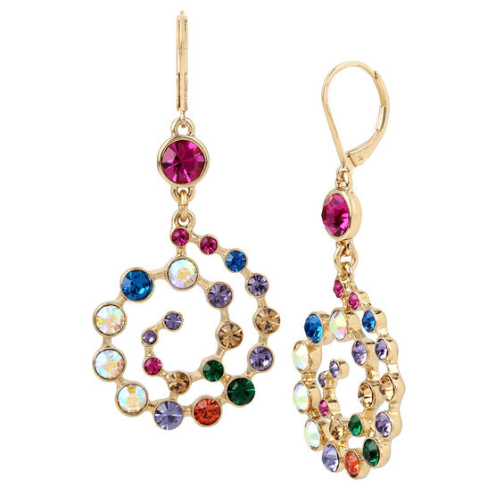 Betsey Johnson Confetti Spiral Drop Earrings - Multi