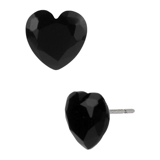 Betsey Johnson Small Heart Stud Earrings - Black