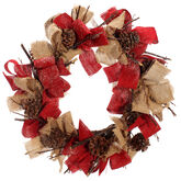 Winter Wishes Lodge Ribbon & Bow Wreath - 20""