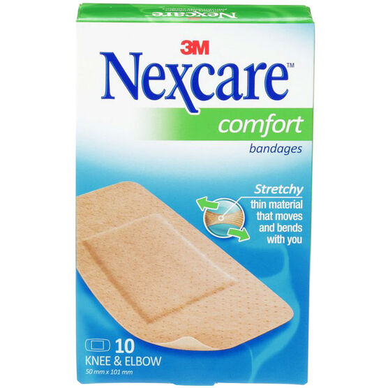 3M Nexcare Comfort Strip Knee & Elbow Bandages - 10's