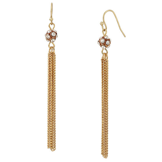 Haskell Tassel Earrings - Crystal/Gold
