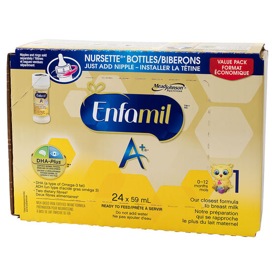 Enfamil A+ Ready to Feed Infant Formula - Nursette Bottles - 24 x 59ml