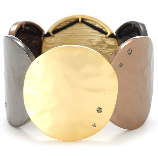 Kenneth Cole Tri Tone Stretch Bracelet - Gold, Hematite & Bronze Tone