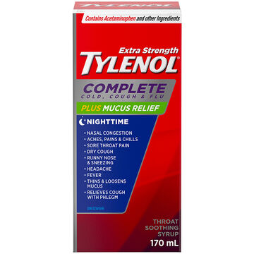 Tylenol* Complete Nightime Cold, Cough, & Flu Plus Mucus Relief - 170ml / Extra Strength