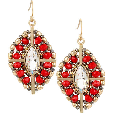 Haskell Beaded Crystal Earrings - Red/Gold