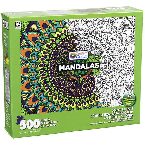 Mandala Color-A-Puzzle - Assorted - 500 Pieces