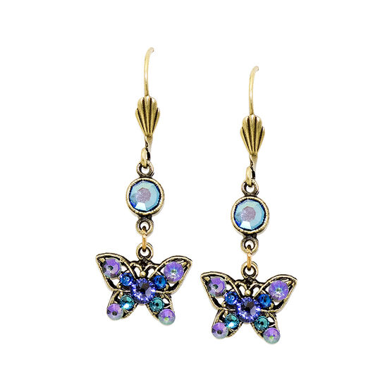Anne Koplik Small Filagree Blue Butterfly Earrings