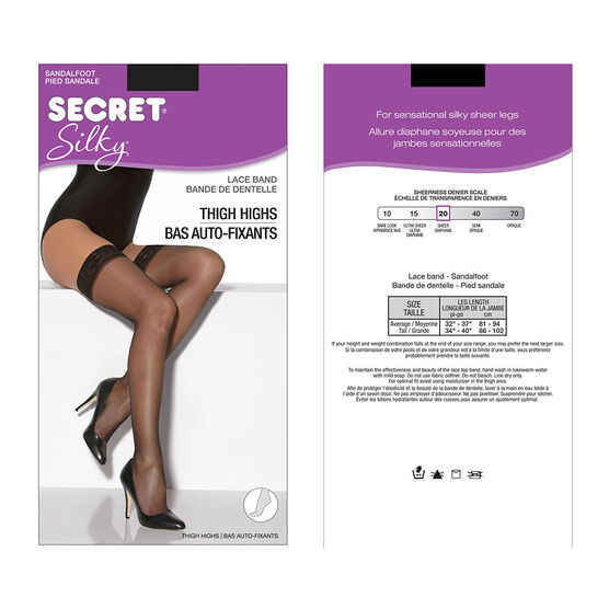 Secret Silky Thigh Highs - Average - Black
