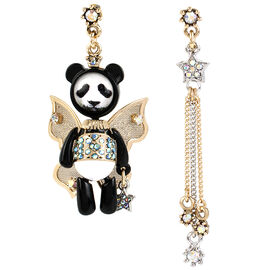 Betsey Johnson Costume Critters Panda Fairy Mismatch Drop Earrings - Black/White