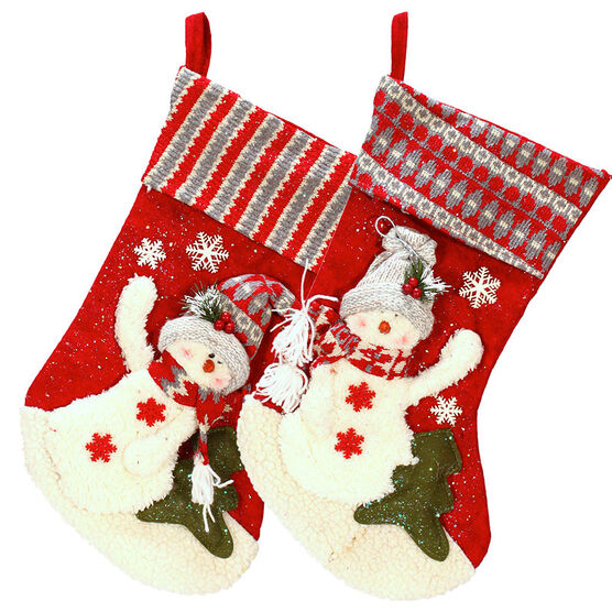 London Look Snowy Winter Stocking - 20inch - Assorted