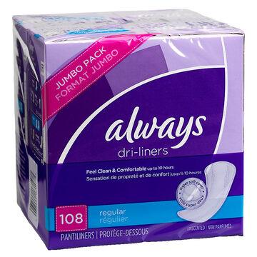 Always Dri-Liners - Regular - 108's