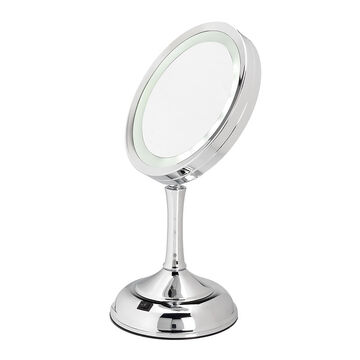 London Premiere LED Chrome Vanity Stand Mirror - 17cm
