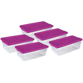 Sterilite Shoe Box - Fuchsia Lid - 5.7L/5 pack