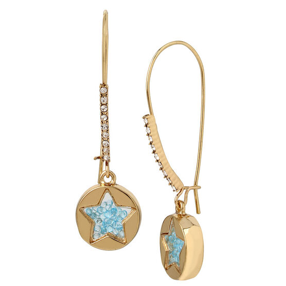Betsey Johnson Confetti Shaky Star Earring - Blue/Gold