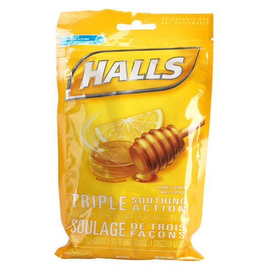 Halls Mentho-Lyptus Drops - Honey Lemon - 30's