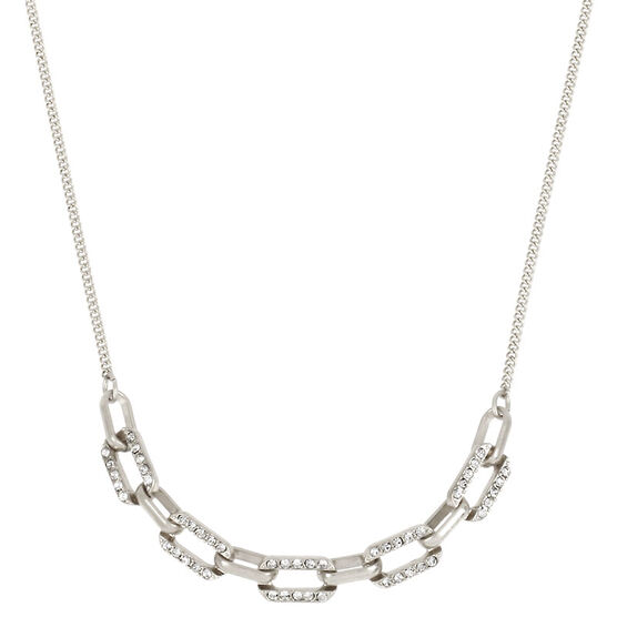 Kenneth Cole Link Frontal Necklace - Crystal/Silver Plated