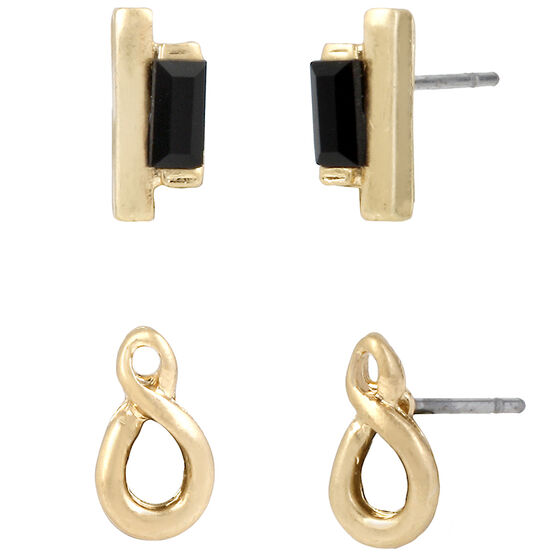 Kenneth Cole Earring Duo - Jet/Gold Plated
