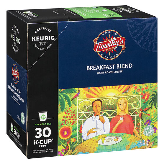 K-Cup Timothy's  Coffee Pods - Breakfast Blend - 30's