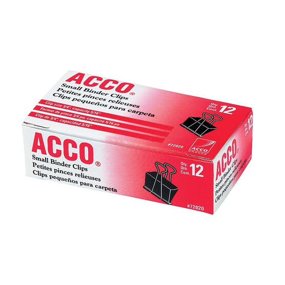 ACCO Fold Back Binder Clips Small - Black - 3/4 Inch - 12 Clips