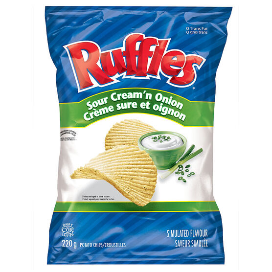 ruffles potato chips sour cream n onion 220g london drugs. Black Bedroom Furniture Sets. Home Design Ideas