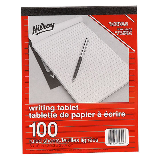 Hilroy Ruled Writing Pad - 8 x 10 inch - 100 sheets