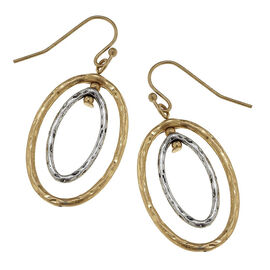 Canvas Geometric Oval Earrings - Gold/Silver