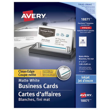 Avery Two-Side Printable Clean Edge Business Cards for Inkjet Printers - 10 sheets