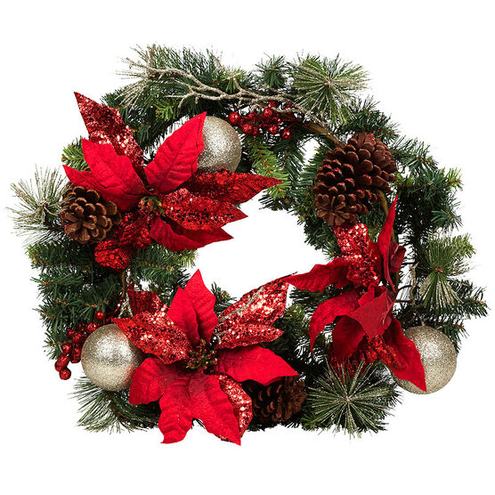Christmas Forever Poinsettia Wreath with Glitter Berries - 24in - Red - XM-HH3140SP