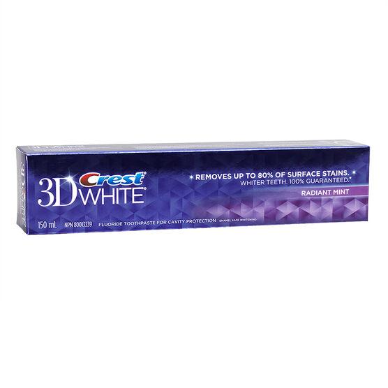 Crest 3D White Toothpaste - Radiant Mint - 150ml