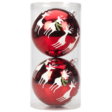 Winter Wishes Candy Cane Lane Ball Ornaments - 2 pack - Reindeer