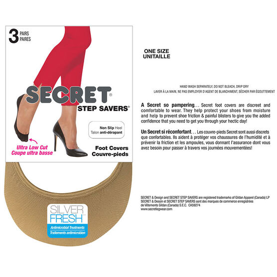Secret Step Savers Non-Slip Heel Foot Cover - Nude - 3 pair
