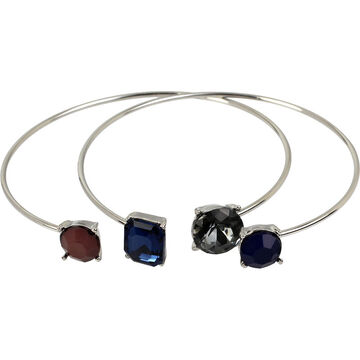 Haskell Two Piece Open Bangle Set - Blue/Rhodium
