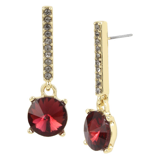 Kenneth Cole Long Drop Earrings - Burgundy/Gold