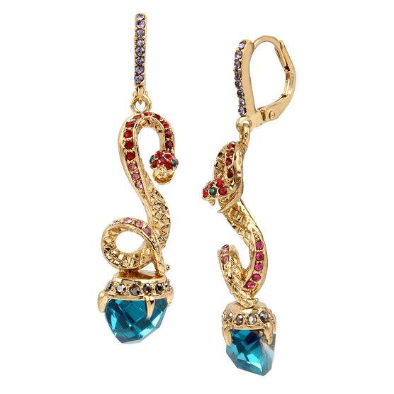 Betsey Johnson Snake Linear Earring - Multi/Hematite