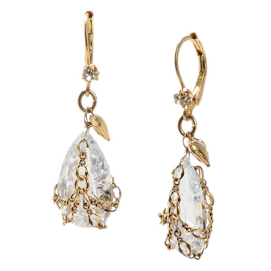 Betsey Johnson Mini Briolette Earrings - Crystal